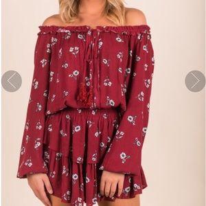 Dresses & Skirts - Brand new red/wine off shoulder floral dress